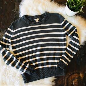 J. CREW Gray & White Striped Crew Neck Sweater XXS